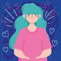 donna con i capelli acquamarina vettore