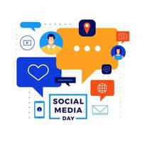 progettazione delle icone del giorno dei social media vettore