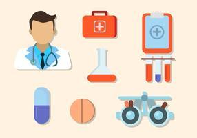 Elementi ospedalieri piatti vettore