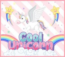 banner di unicorno sul colore di sfondo pastello
