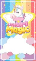 banner di unicorno sul colore di sfondo pastello vettore