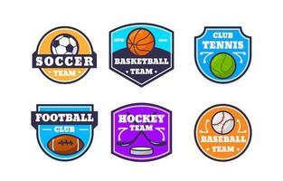 collezione di badge logo squadra sportiva colorata vettore