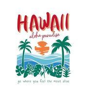 lettering hawaii con spiaggia tropicale vettore