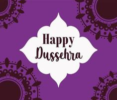felice poster di dussehra festival of india vettore
