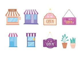 segno negozio mercato, facciata e set di piante in vaso