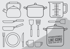 Icone di utensili da cucina vettore