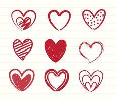 Vettori del cuore di schizzo disegnato a mano