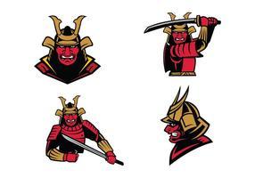 vettore della mascotte del guerriero samurai