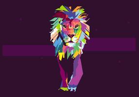 Ritratto di Lion Popart vettore