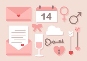 Vettore sveglio degli elementi di amore di San Valentino