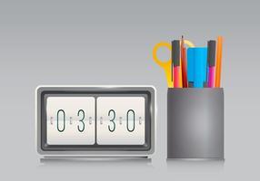 Portapenne e orologio da ufficio in stile realistico vettore