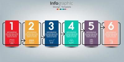 modello di progettazione infografica con 6 elementi di colore vettore