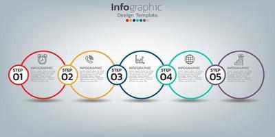 modello di progettazione infografica con 5 elementi di colore vettore
