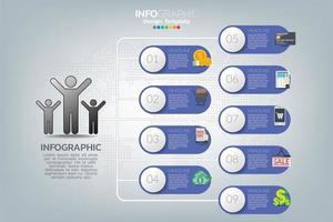 modello di infografica e icone. concetto di business con processi. vettore