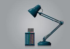 Portapenne e lampada in stile realistico vettore