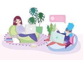 giovani donne con i loro laptop in casa vettore