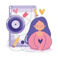 concetto di creatività e tecnologia con donna e icone vettore