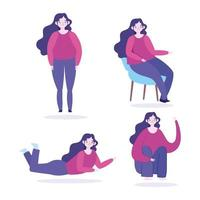 carattere donna in diverse pose impostato vettore