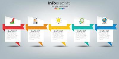 modello di infografica timeline con icone nel concetto di successo vettore