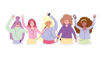 gruppo di ragazze felici che ascoltano musica vettore