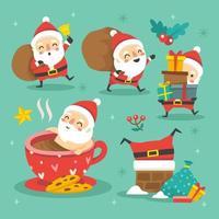 simpatica collezione di Babbo Natale vettore