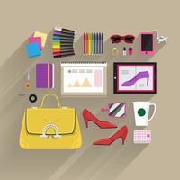 vista dall'alto di articoli di moda vettore