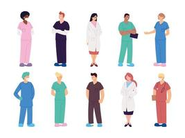 set di medici e infermieri operatori sanitari