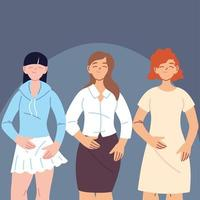 donne diverse in abiti casual