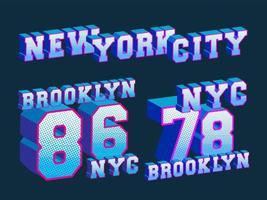 timbro di stampa della maglietta di new york e brooklyn vettore