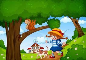 una ragazza con un simpatico animale nella scena del giardino naturale vettore