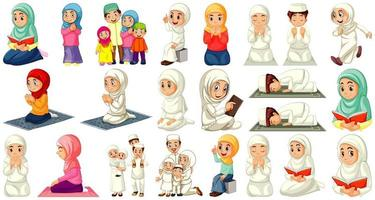 set di diversi personaggi dei cartoni animati di persone musulmane