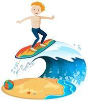 surfista isolato in spiaggia vettore