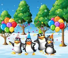 gruppo di pinguini nel personaggio dei cartoni animati di tema del partito sullo sfondo della foresta vettore