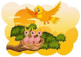 pulcini e sua madre uccello in natura vettore