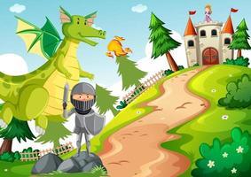 cavaliere con drago nella scena della terra da favola vettore