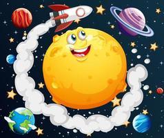 luna con la faccia felice sullo sfondo del tema della galassia spaziale