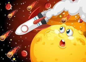 luna con la faccia felice sullo sfondo del tema della galassia spaziale vettore