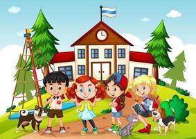 bambini nella scena della scuola vettore
