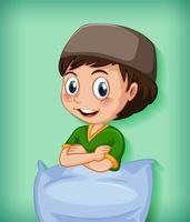 personaggio dei cartoni animati musulmano maschio con cuscino