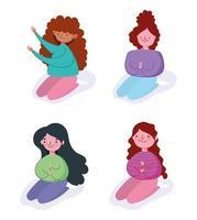 set di ragazze dei cartoni animati in ginocchio vettore
