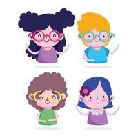 set di personaggi di ragazzi e ragazze dei cartoni animati