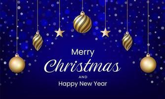 buon natale e anno nuovo design con colore blu ed effetto neve vettore