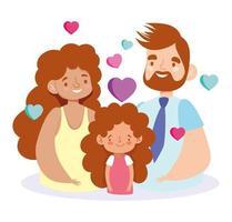 madre padre e figlia con disegno vettoriale cuori