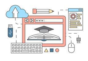 Elementi vettoriali gratis di stile lineare di formazione online