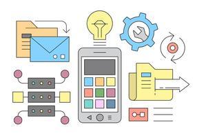 Concetto di design per lo sviluppo di applicazioni mobili vettore