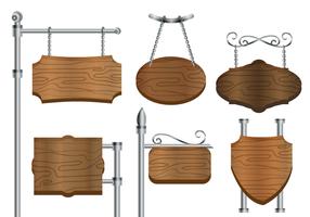 Vettore d'annata d'acciaio del segno in bianco dell'insegna di legno