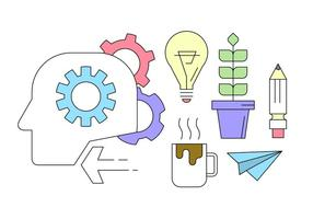 """icone di """"brainstorming"""" nel design della linea sottile vettore"""