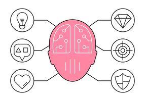 Illustrazione di Brainstorming e icone di idee