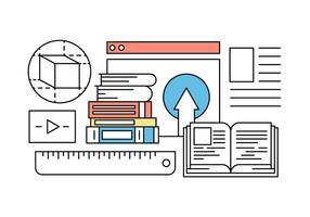 Icone di formazione e apprendimento online nel vettore