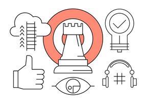 Icone sulla crescita del business e Marketing Vision in vettoriale